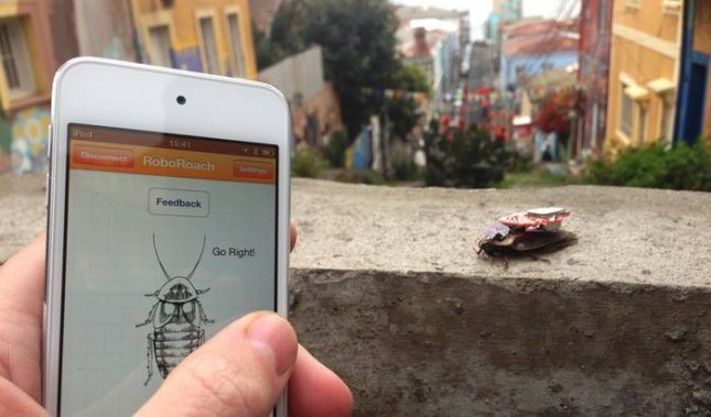 The RoboRoach kit from Backyard Brains lets anyone install electrodes into a live cockroach to turn it into a smartphone-controlled cyborg roach. (Credit Backyard Brains/RoboRoach)