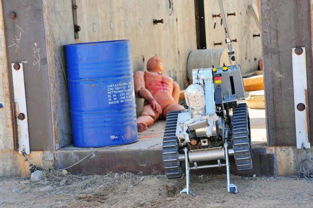 A robot takes on a civilian rescue operation at the Robot Rodeo. Photo by Randy Montoya/Sandia