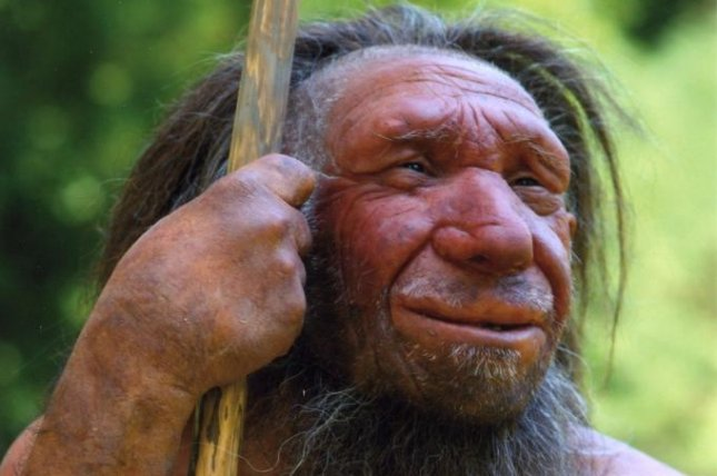 A new study says Neanderthals' thumbs stuck out from their hands at a much wider angle than modern humans, making them better-adapted to grip tools in the way shown here. Photo courtesy of Germany's Neanderthal Museum/Wikimedia Commons