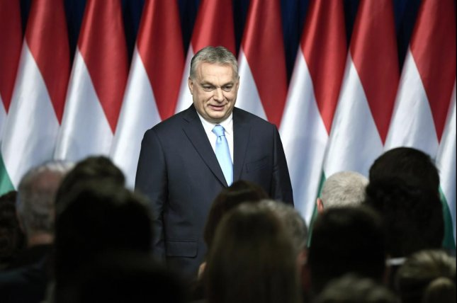 Hungarian Prime Minister Viktor Orban smiles at the end of his annual state of the nation speech in Budapest, Hungary, on Sunday. Photo by Szilard Koszticsak/EPA-EFE