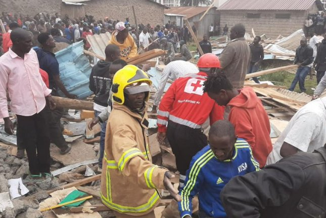 Rescue efforts to find more children possibly still lost in the rubble was being coordinated by St. John Ambulance and Kenya Red Cross. Photo courtesy Kenya Red Cross/Twitter