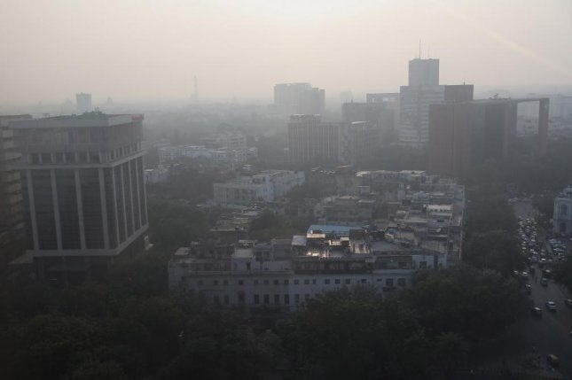 A general view of the city engulfed in heavy smog in New Delhi, India, on Monday. The country's Supreme Court slammed officials Monday for their inaction and ordered crop burning stopped. Photo by Harish Tyagi/EPA-EFE