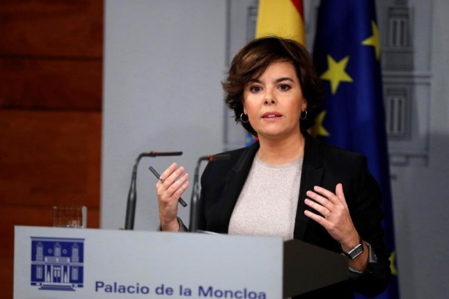 Deputy Prime Minister Soraya Sáenz de Santamaría addressed a letter from Carles Puigdemont on Monday. Santamaria regretted that the Catalan leader didn't explicitly declare independence or not. Photo by Chema Moya/EPA