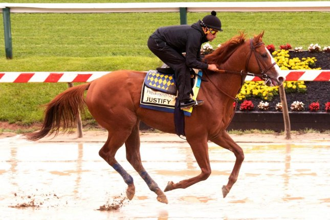 The rains stopped at Pimlico Thursday morning just as Kentucky Derby winner Justify (pictured) stepped out to test the track in preparation for Saturday's Preakness. Photo courtesy of Maryland Jockey Club