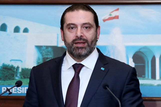 Prime Minister Saad al-Hariri speaks to media after his meeting with Lebanese president, where they agreed to the formation of a new government Thursday. Photo by Dalati Nohra/EPA-EFE