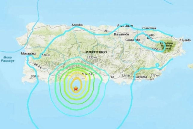 The initial quake was recorded at 7:13 a.m., 6.8 miles south-southeast of Tallaboa. Image courtesy of the USGS
