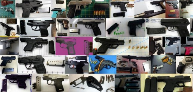 A record-breaking seventy-three firearms were discovered this week in carry-on bags around the nation. Of the 73 firearms discovered, 68 were loaded and 27 had a round chambered. All of the firearms pictured were discovered last week. Composite photo by TSA