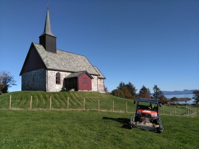 The georadar system pictured here in front of the Edoy Old Church on the island of Edoy, Norway, discovered a 1,000-year-old Viking ship buried on the island. Photo by Manuel Gabler/Norwegian Institute for Cultural Heritage Research