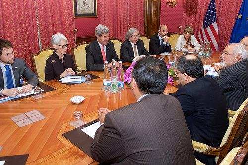 U.S. Secretary of State John Kerry, top center, and Iranian Foreign Minister Mohammad Javad Zarif, far left, were among negotiators in Vienna in March, working to secure a nuclear agreement (CC/ U.S. State Dept.)