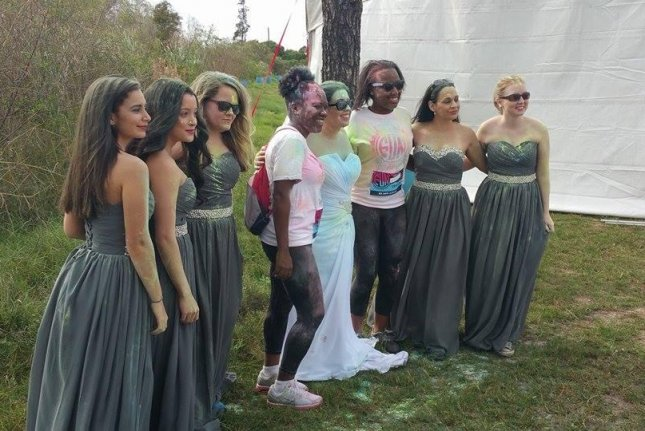 Kilee Manulak and her bridesmaids decided to wear their dresses for a 5K color run after the groom called off the wedding. Photo by Jessica Rios/All Brides 2 Be