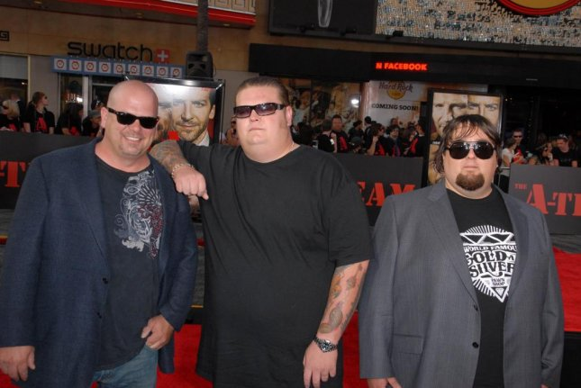(L-R) Rick Harrison, Corey Harrison and Austin Chumlee Russell of Pawn Stars fame attending The A-Team premiere in 2010. Following Chumlee's recent arrest, a new police report has detailed the items seized from his home by authorities. Photo by Shutterstock/S-bukley