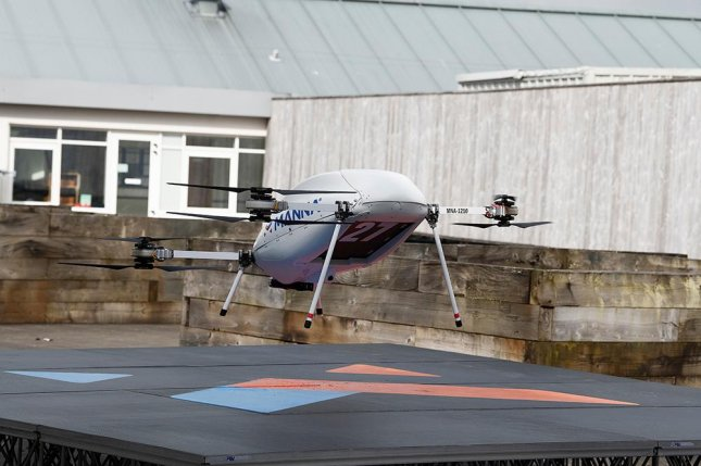 A drone takes off to deliver a digital gadget to a customer in Oranmore, Ireland. Samsung Electronics launched the drone delivery service this week with local startup Manna. Photo courtesy of Samsung Electronics