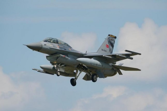 A Turkish air force F-16 fighter jet is pictured in final approach to Malbork Air Base, Poland, where 4 of the aircraft will be supporting NATO's enhanced Air Policing mission in the Baltic region until mid-September. Photo by 22nd Air Base Malbork/NATO