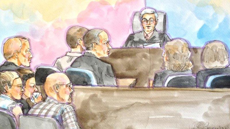 Artist's rendering of inside the courtroom. (Vicki Behringer)
