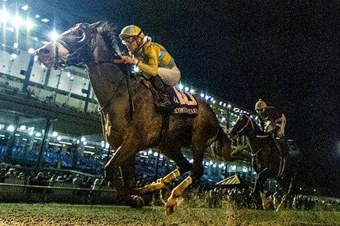 Enforceable, shown winning the Lecomte Stakes, is among the favorites for Saturday's $1 million Louisiana Derby. Photo courtesy of Fair Grounds