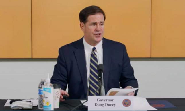 Arizona Gov. Doug Ducey on Monday announced the state would close bars, gyms and water parks, in addition to moving back the start of in-person school instruction and other methods to prevent the spread of COVID-19 as the state has experienced a surge in cases. Screen capture/Doug Ducey/Twitter