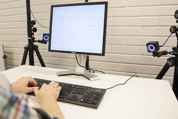 High-speed cameras tracked the movement of typists' hands as they performed basic typing tasks and speed tests. Photo by Aalto University/Mikko Raskinen