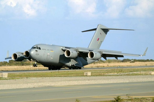 Britain seeks continued U.S. support for C-17 aircraft. Pictured, a Royal Air Force C-17 lands in Cyprus. RAF photo