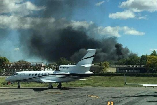 Steve Case, co-founder of AOL, shot this photo of a plane crash near Teterboro Airport in New Jersey while on another jet. Photo courtesy of Steve Case/Instagram