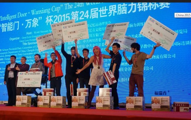 Winners at the World Memory Championships. Fifteen-year-old Evan Xie became the first Canadian to earn the title of International Master of Memory after completing a series of tests at the competition in China. Photo Courtesy of World Memory Championships