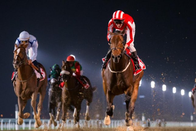 Salute the Soldier wins Maktoum Challenge Round 3 on Super Saturday at Meydan, with the next stop the Dubai World Cup. Photo by Erika Rasmussen, courtesy of Dubai Racing Club