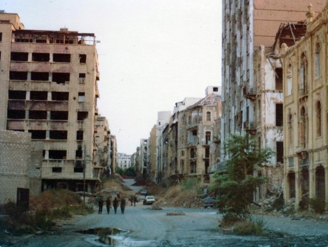 View of the Green Line in Beirut, Lebanon ca. 1982. On Sept. 16, 1982 Lebanese Christian militiamen entered two Palestinian refugee camps in West Beirut, Lebanon, and began what became known as the Sabra and Shatila massacre. Hundreds of people were killed in the three-day rampage. Photo courtesy James Case