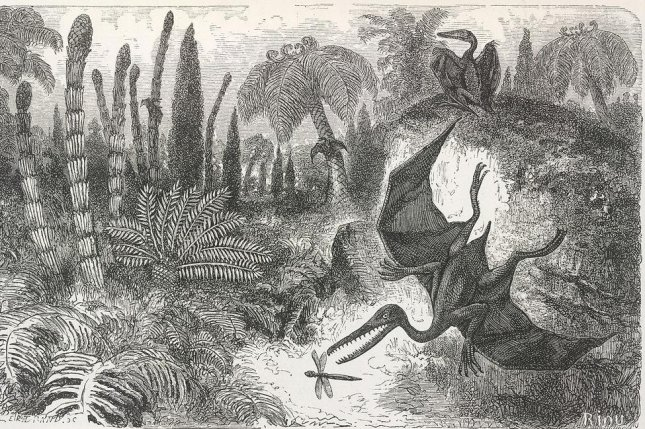 Landscape of the Liasic period, an illustration depicting a pterodactyl py French artist Édouard Riou. (CC/British Library)