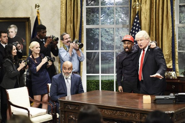 Kenan Thompson as Jim Brown, Chris Redd as Kanye West and Alec Baldwin as President Donald Trump on this weekend's edition of Saturday Night Live. Photo by Will Heath/NBC
