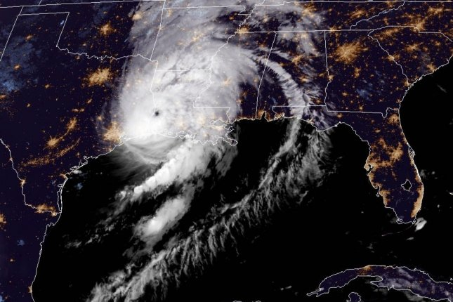 Hurricane Laura is seen after it arrived on the Louisiana coast early Thursday as a Category 4 storm. Image courtesy NOAA/NHC