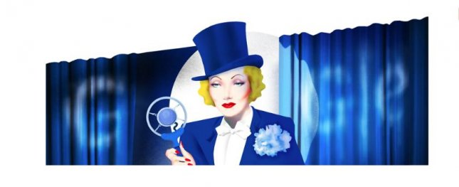Google is paying homage to actress and USO entertainer Marlene Dietrich with a new Doodle. Image courtesy of Google