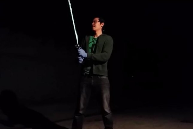 California engineer Allen Pan, known for creating a real version of Thor's hammer, posted a video to his YouTube page Sufficiently Advanced showing him testing a working lightsaber. Photo By Sufficiently Advanced/YouTube