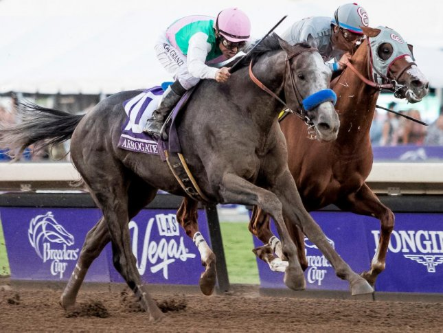 Arrogate, seen running by California Chrome in the Breeders' Cup Classic, returns Monday in the San Pasqual at Santa Anita before a rematch in the Pegasus World Cup. (Breeders' Cup Photo)