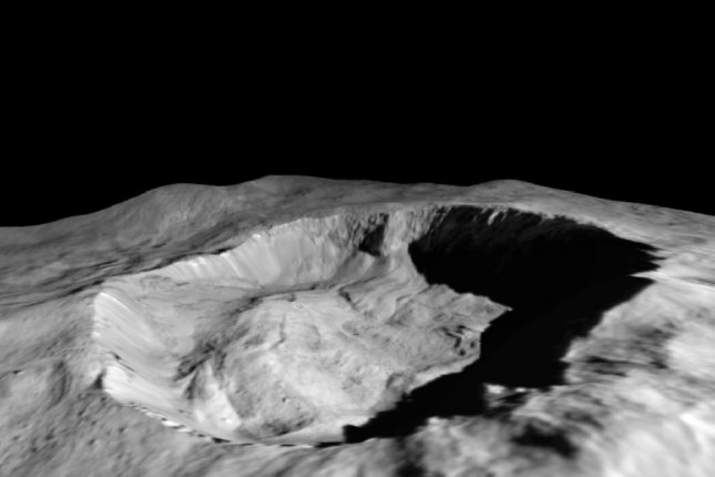 Dawn observations showed the amount of water ice on the north slope of Ceres' Juling Crater is increasing. Photo by NASA/JPL-Caltech/UCLA/MPS/DLR/IDA/ASI/INAF