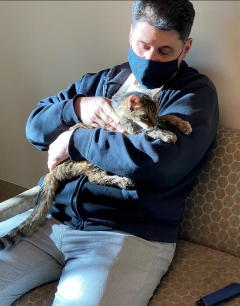 A Los Angeles County, Calif., man was reunited with his pet cat, Brandy, 15 years after the feline went missing. Photo by County of Los Angeles Palmdale Animal Care Center/Facebook