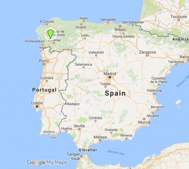 At least two people died when a passenger train derailed in Galicia in northern Spain. Image from Google maps