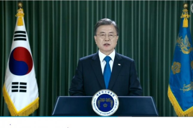 South Korean President Moon Jae-in addressed the United Nations General Assembly via prerecorded video on Tuesday. Screenshot courtesy of United Nations