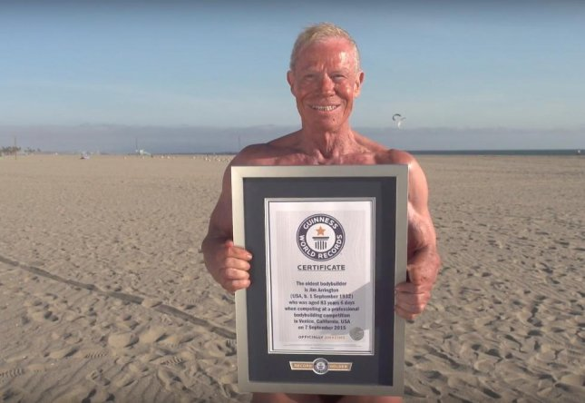 Jim Arrington, an 84-year-old great-grandfather from California, holds the Guinness World Record as the world's oldest bodybuilder. 