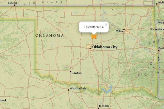 Oklahoma expands efforts to reduce wastewater injection from oil and gas operators in an effort to curb seismic activity in the state. A magnitude-3.4 tremor recorded early Tuesday. Map courtesy of the U.S. Geological Survey.