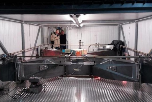 Scientists recently installed a new single-axis, laser-based gyroscope in a subterranean laboratory in Italy. Photo by the American Institute of Physics
