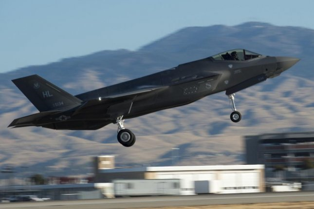 A F-35 Lightning II from Hill Air Force Base, Utah, takes off from the Gowen Field runway Oct. 16, 2017, in Boise, Idaho. Photo by Airman 1st Class Mercedee Schwartz/U.S. Air National Guard