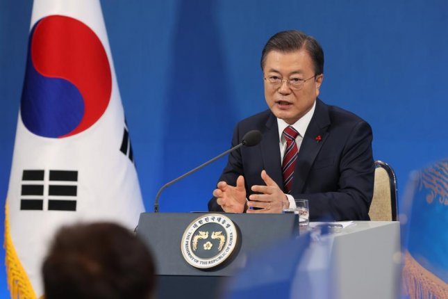 During a New Years' news conference on Monday, South Korean President Moon Jae-in urged U.S. President-elect Joe Biden to build on the Trump administration's agreements with North Korea. Photo by Yonhap