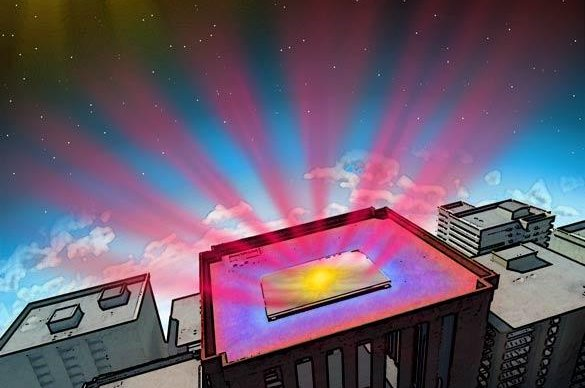 An illustration shows the infrared heat emitting building material in action. Photo by Shanhui Fan/Stanford University.