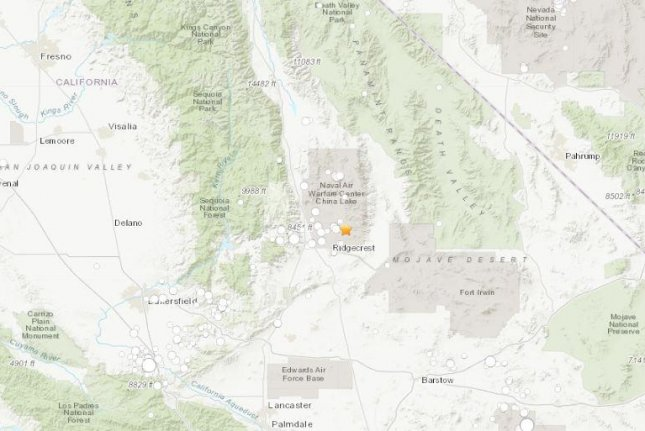 A magnitude-5.4 aftershock rattled Southern California early Friday, the strongest yet after a strong quake Thursday. Image courtesy U.S. Geological Survey