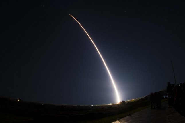 An unarmed Minuteman III intercontinental ballistic missile is pictured launching in February 2019 during a developmental test at Vandenberg Air Force Base, Calif.. Photo by Clayton Wear/U.S. Air Force