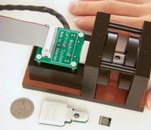 Scientists are developing a portable device that can measure a person's radiation exposure in minutes using radiation-induced changes in the concentrations of certain blood proteins. This image shows a magneto-nanosensor chip reader station, chip cartridge, and chip. Credit: S. Wang