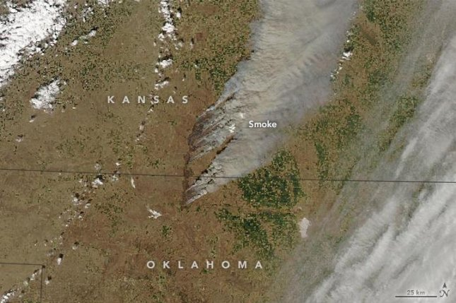 A satellite image shows the Anderson Creek fire a day after it was sparked in Oklahoma. Photo by NASA/Aqua/MODIS