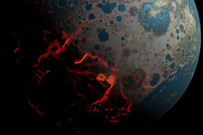 Japanese scientists say they've found evidence of biological activity in rocks formed 3.95 billion years ago, when Earth was regularly bombarded by asteroids and comets. Photo courtesy of NASA