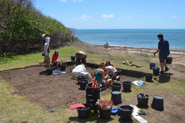 Students from the University of Oregon, North Carolina State University and University College London survey an archaeological dig site on Carriacou Island. Photo by Scott Fitzpatrick