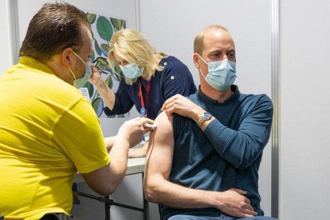 Britain's Prince William is seen receiving his first COVID-19 vaccine dose. Photo courtesy Duke and Duchess of Cambridge/Twitter