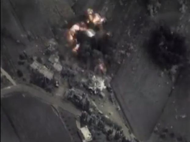 Russia released video footage Wednesday showing several airstrikes in Syria. Screenshot/Russian Ministry of Defense